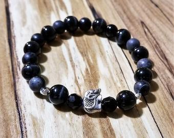 Black Onyx with Gray Stone and Elephant charm  Bead Bracelet