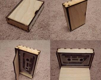 Wooden tape cassette case