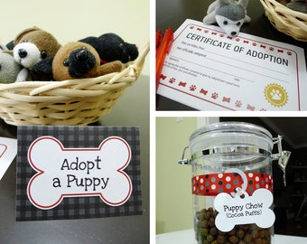 Puppy Dog Printable Birthday Party Kit: Food Labels / Placecards, Bone Tags, Signs, Adoption Certificate - INSTANT DOWNLOAD