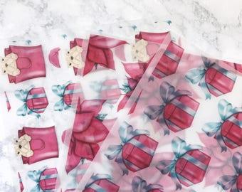 Pups & Presents Vellum | pink holiday, presents, puppy