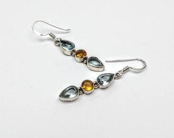 A Rose between two Thorns - sterling silver blue topaz, yellow citrine drop earrings, silver gem earrings, contemporary and simple design