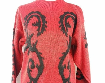 30% SPRING SALE Vintage Ellen-D Kollection Red Black Glitter Metallic Sparkle Long Sleeve Mock Neck Sweater Top Turtleneck Sz L/Xl
