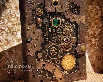 "Steampunk journal A5 ""Brown mechanics"", blank book, blank notebook, blank journal, engineer gifts, diary, birthday gift for him"