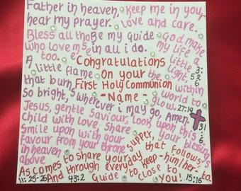 Unique holy communion card