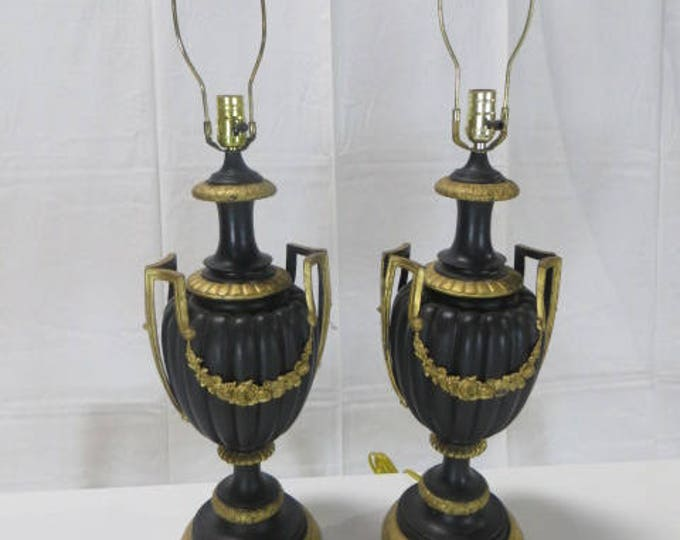 French Mid-Century Blackened Bronze Pair of Lamps with Gilded Ormolu