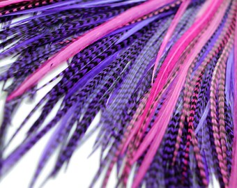 20 Real Feather Hair Extensions : B-Grade Mix #007 + Rings/Loop