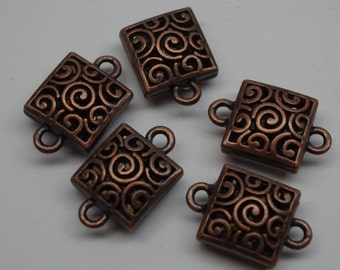 SQUARE CONNECTOR, (2) copper connector, pack of 2 connectors, beading supplies, destash, jane bari beads,  jewelry supplies