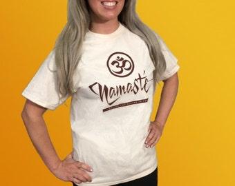 Namaste' Shirt, Namaste' Logo T-shirt, Yoga Wear, Yoga Clothing, Excercise Clothes, 100% Cotton