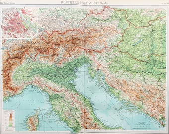 Huge 1922 Antique Map, Northern Italy, Austria & The Alps, Yugoslavia, Hungary, Vintage Colour Map (36)