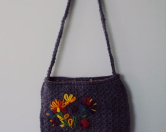 Crocheted Shoulder Bag, hand crafted, 1970's