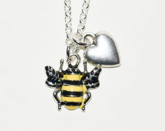 Bee Necklace, Manchester Bee, Bee Jewelry, Charity Necklace, Bee Charm Necklace, Black and Yellow Bee, Bee Pendant, Bee and Heart Necklace