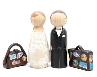 Cake Toppers and LUGGAGE - Destination Wedding, World, Travel, International Wedding Cake Toppers Personalized Cake Toppers