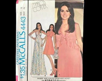 Vintage 70s Marlo Thomas McCall's Pattern 1970s Maxi Dress Summer Halter Top and Jacket Size 12 Bust 34 Vintage Sewing Pattern Uncut Pattern