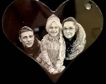 Photo Engraved Heart Pendant Necklace