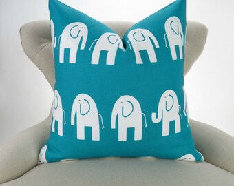 Elephant Pillow, Turquoise and White big Pillow, Euro Sham, Kids Zoo Decor, Teal, Aqua & White -up to 28x28 inch- Ele by Premier Prints