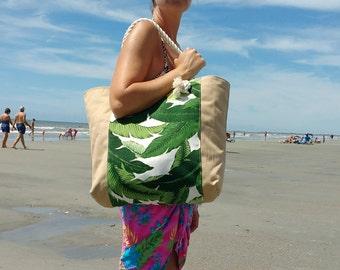 Beach Bag - Tropical Beach Bag - Travel Gift - Waterproof Lining - Pool Bag