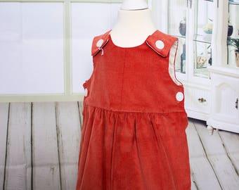 Girls' Dresses, Baby Girls, Pinafore, Rust Needlecord