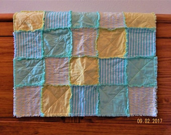 Aqua and yellow gender neutral crib quilt