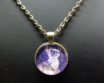 """Deer, deer, Locket necklace, Bronze pendant with chain 24 """"matching No. 0876"""
