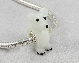 Polar Bear Large Hole Lampwork Glass Bead - 925 Sterling Silver European Bead Charm