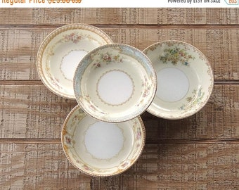 ON SALE Mismatched Noritake Dessert Bowls Set of 4 Tea Party Serving Bowls Wedding Farmhouse Cottage Style China Replacement China