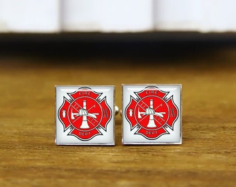 firefighter cufflinks, custom wedding cufflinks, groom gifts, fireman cufflinks, round glass, square cufflinks, tie clip or a matching set