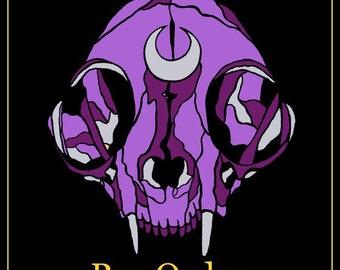 PRE-ORDER*** Black Magic Hard Enamel Cat Skull Pin - Purple/Black and Pink/Black Variants- Free U.S Shipping