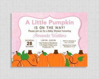 Little Pumpkin Baby Shower Invitation, Pink Pumpkins Shower Invite, Fall, Baby Girl, DIY PRINTABLE