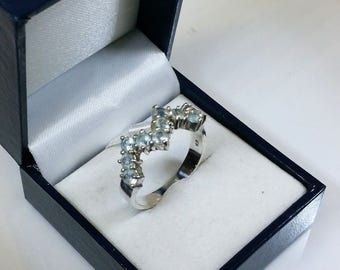 20.2 mm Ring 925 silver Tourmalines light blue SR344