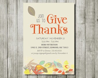 Printable Thanksgiving dinner invitation, happy thanksgiving party, thanksgiving invitation, give thanks party, thanksgiving gathering party