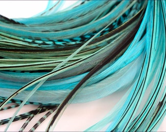 Aqua Turquoise Feather Hair Extensions 10 Long Hair Feathers Extension Kit with Beads Hippie Hair Accessory Real Feathers / Loose Feathers
