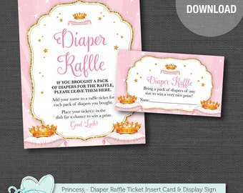 Princess Diaper Raffle Insert Card and Sign, Instant Download, Baby Shower Game Printable, Pink, Gold Glitter, Girl, Pink and Gold, Crown,3P