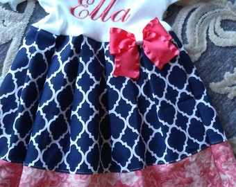 Personalized Baby Girl Dress Baby Girl Coming Home Ooutfit Take Home Newborn Dress Coral Navy Personalized Baby Gifts Newborn Headband Baby