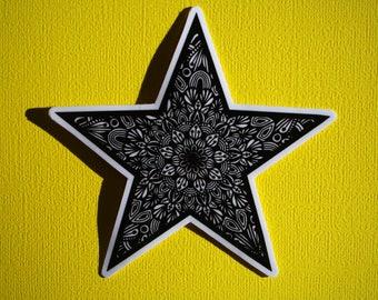 B&W Star Sticker