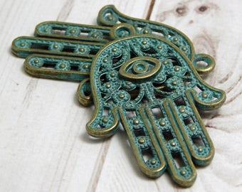 2pcs - 42x28mm - Hamsa Pendant - Hamsa Hand Pendant - Green Patina Pendant - Antique Bronze - Bronze Pendant  - Hand Pendant - (B478)