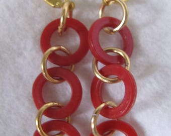 Little Creations Red/Yellow/Green Early Plastic 3 Ring GP* Leverback Pierced Earrings