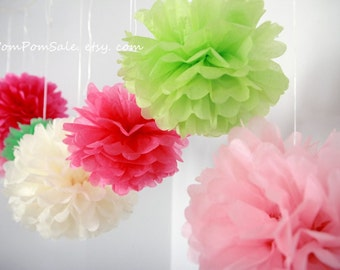 "SALE - 6 Medium 14"" Tissue Paper Pom Poms - Choose your colors - Nursery / Wedding / Bridal / Baby Shower / Birthday Party Decoration"