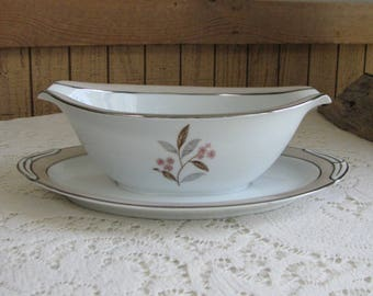 Noritake Sheridan-Pink Gravy Boat with Underplate Vintage Dinnerware and Replacements 1953 – 1958 Mid Century Serving Ware