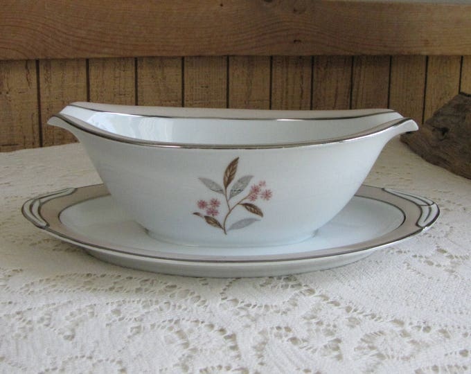 Noritake Sheridan-Pink Gravy Boat with Underplate Vintage Dinnerware and Replacements 1953 – 1958