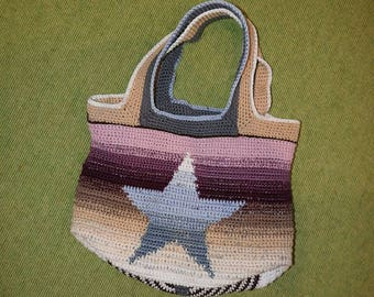 Crochet bag, sturdy pouch, with star in the gradient