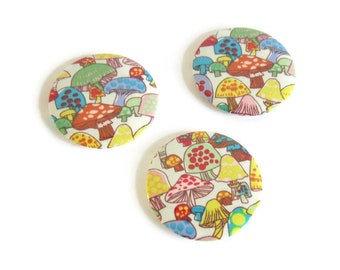 Set of 3 magnets refrigerator fungi fabric Fridge Magnet, magnets table deco, white inner child, kitchen