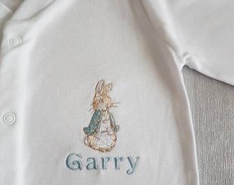 Peter Rabbit  personalised sleepsuit, personalised baby grow, baby gender/ name reveal gift, Baby shower gift, embroidered keepsake gift,