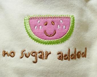 Watermelon Appliqued Onesie..Organic Cotton..Baby Shower Gift..Watermelon Embellished Infant Onesie..ON SALE..Reduced 50%   :)