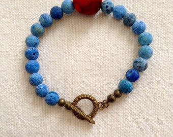 Bracelet Bronze coral and frosted blue Agate