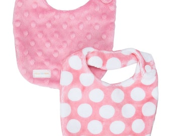 Newborn Baby DROOL Bib SET in Pink & White Polka Dots Dimple Minky - Perfect NEW baby gift - Free Shipping