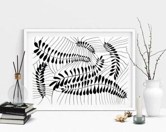 Black Leaves Decorative Plant Botanical Abstract Leaves Modern Art Fine Art Hand Made Netting Leaves Illustration