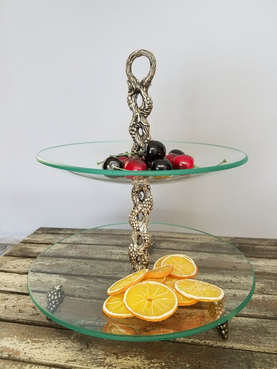 Tiered Stand Tray Clear Glass Platter Grape Center Post And Grape Feet, Pastry Cake Tray Stand, Fruit Tray Stand,  Jewelry Display