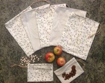 Bulk Bags, Reusable, Zero Waste Produce Sack, Eco Friendly Food Bag, Plastic Free, Repurposed Fabric Drawstring Pouch, Organic Cotton Thread