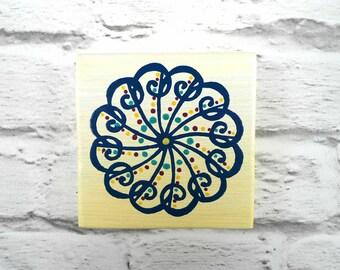 Small mandala painting - Blue mandala plaque - Spiritual wall art - Mandala wall decor - Spiritual wall hanging - Spiritual gift