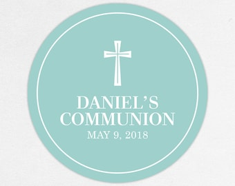 First Communion Favor Labels, First Communion Stickers, Printed Communion Tag, First Holy Communion Favor Tag, Boy Communion, Daniel, Blue